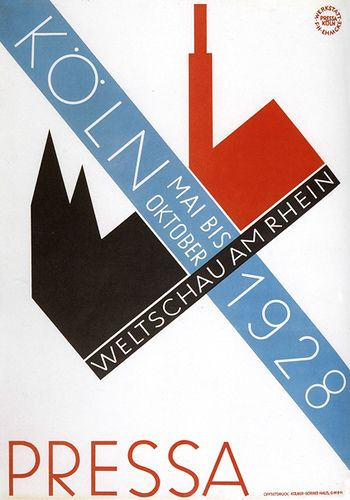 A Renå Binder and Max Eichheim design through the Ehmcke workshop. A poster for the International Press Exhibition called Pressa, Cologne, Germany 1928.