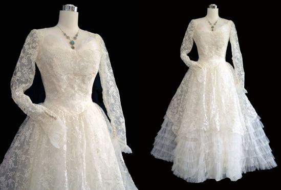 1950s wedding dress.