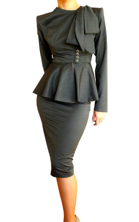 Vintage-look peplum suit