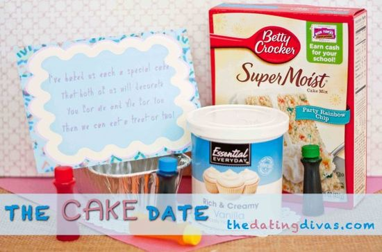 The Cake Date - This FABULOUS date will satisfy that ever-aching sweet tooth! You and your spouse can decorate cakes for each other and enjoy the treats together! www.TheDatingDiva... #creativedate #datenight #dateideas