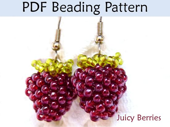 Beading Tutorial, Beaded Berries, Earrings, Jewelry Making Pattern,