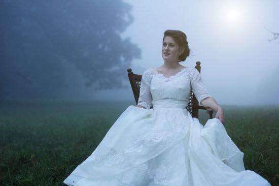 1950's 3/4 length sleeves ball gown wedding dress by FoxberryFarm, $750.00 // pretty in a fluffy dress sort of way