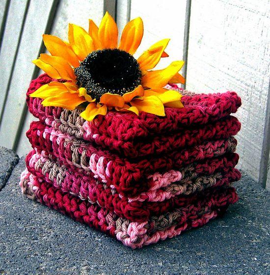 Cotton Crochet Washcloths Dishcloths Face by HandmadeByAnnabelle, $12.00