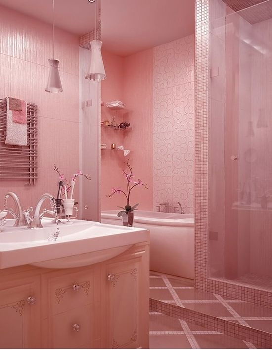 Adorable and Elegant Pastel Pink Bathroom Design