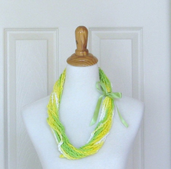 NEON GREEN Yellow SCARF Fashion Crochet Handmade by marianavail, $14.00
