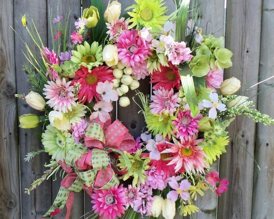 Door Wreath Silk Floral Spring Pinks & by cottagecraftsonline, $75.00