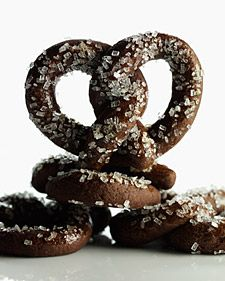 chocolate pretzels with coarse sugar