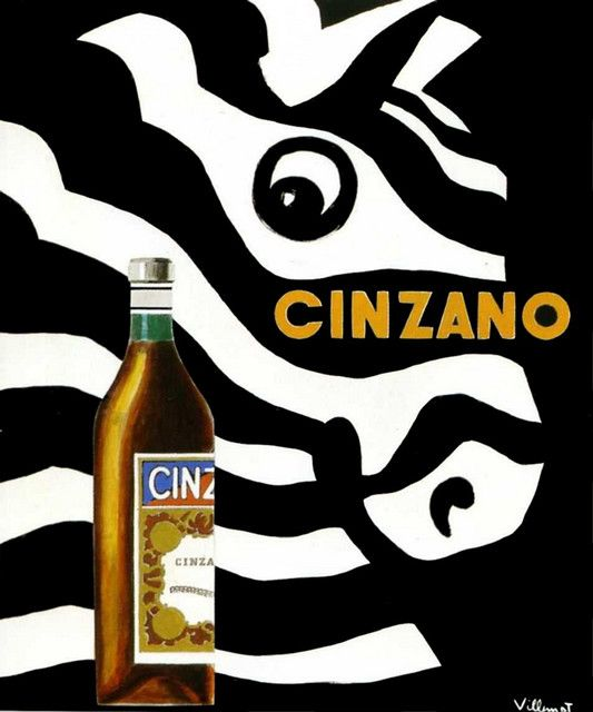 Vintage Poster - Cinzano (par Villemot) 1956 - Drinking - Alcohol