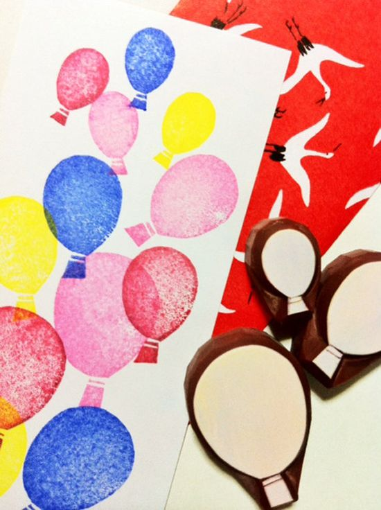 BALLOON rubber stamp. hand carved rubber stamp. handmade stamp. set of 3.. $8.00, via Etsy.