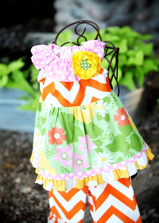 Love the color and big prints RESERVED Little Girls Chevron Orange by mudpuddlesdandelions