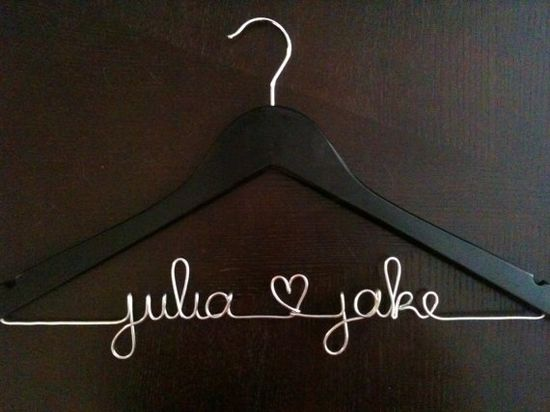 Personalized wedding hangers - so cute!