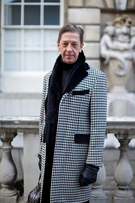 Maurice Mullen outside Somerset House at London Fashion Week, February 2012. Photographer: Marcus Dawes