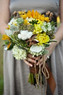rustic cotton bouquet