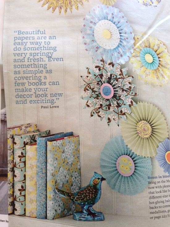 Paper pinwheels and covered books