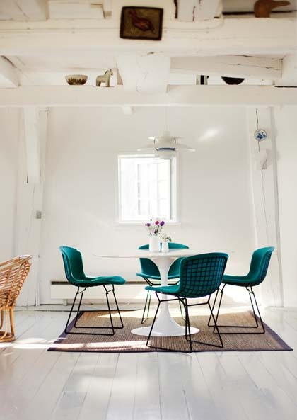 Scandinavian decor....... I need to get some new covers made for my Bertoia's.  nice colour inspiration.