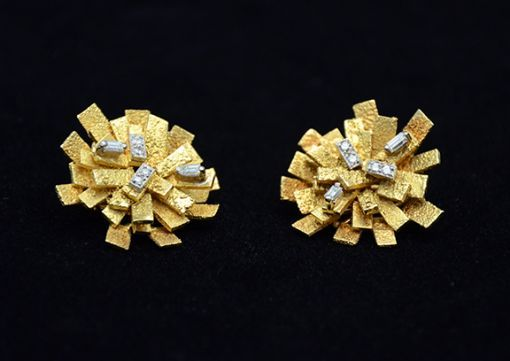 GRIMA GOLD AND DIAMOND EARRINGS