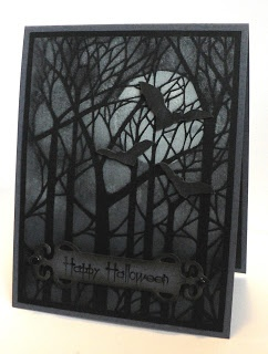 handmade Halloween card ... gray card with a big moon and black bird in a forest of leafless blac trees ...