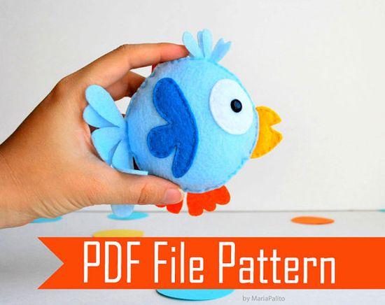 Funny  Felt Bird plush pattern  DIY sewing Pattern by Mariapalito, $10.00