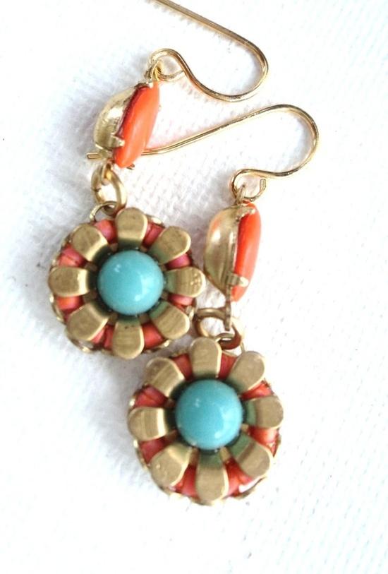 beach wear Earrings #jewelry #etsy #beach #coral #turquoise
