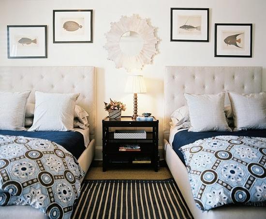 double beds. bedding, headboards, etc