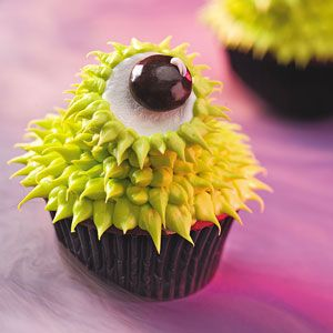 Monster Halloween Party Recipes from Taste of Home, including Green-Eyed Monster cupcakes