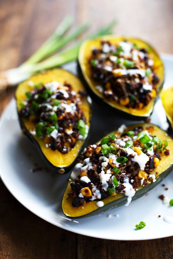 Mexican Roasted Corn and Quinoa Stuffed Squash: loaded with red quinoa, black beans, roasted corn.