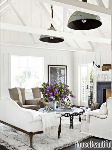 Decorate your living room with bright whites.