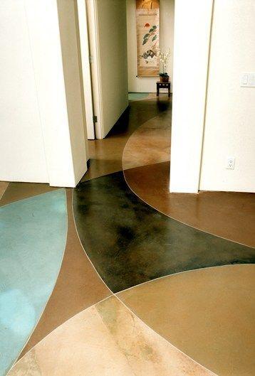 Black, Aqua Concrete #floor decorating #floor design #modern floor design
