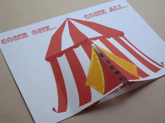 Under the Big Top...Personalized Circus Party Invitations