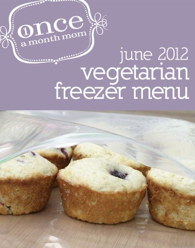 Freezer vegetarian menu seasonal to June. Recipe cards, grocery list, instructions and more.