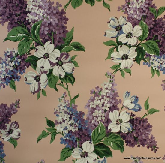 Vintage Wallpaper - Purple Lilac Floral - Peach and Purple - Flowers