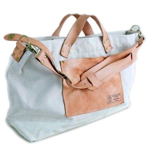 light blue and leather bag