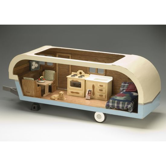 Vintage travel trailer dollhouse kit.