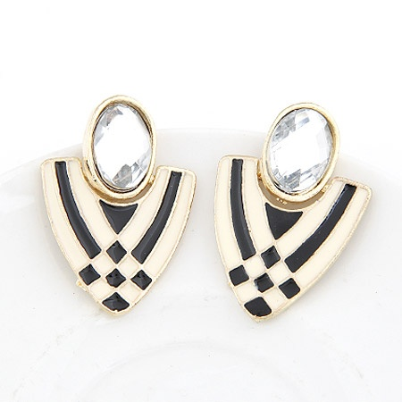 Gold White Black Stone Statement Stud Earrings