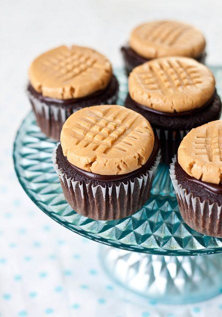 Peanut Butter Cookie Cupcakes. Looks like a cookie, but guess what? It's frosting!