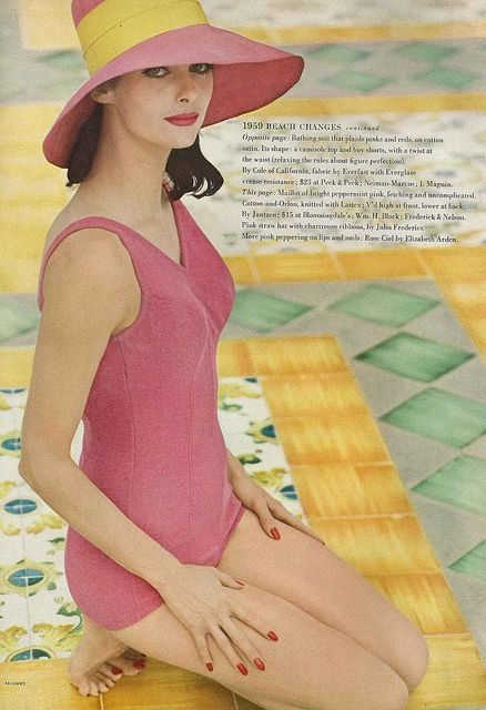 Gorgeous in a hue I'd happily call cherry popsicle pink. #swimsuit #vintage #1950s #fashion