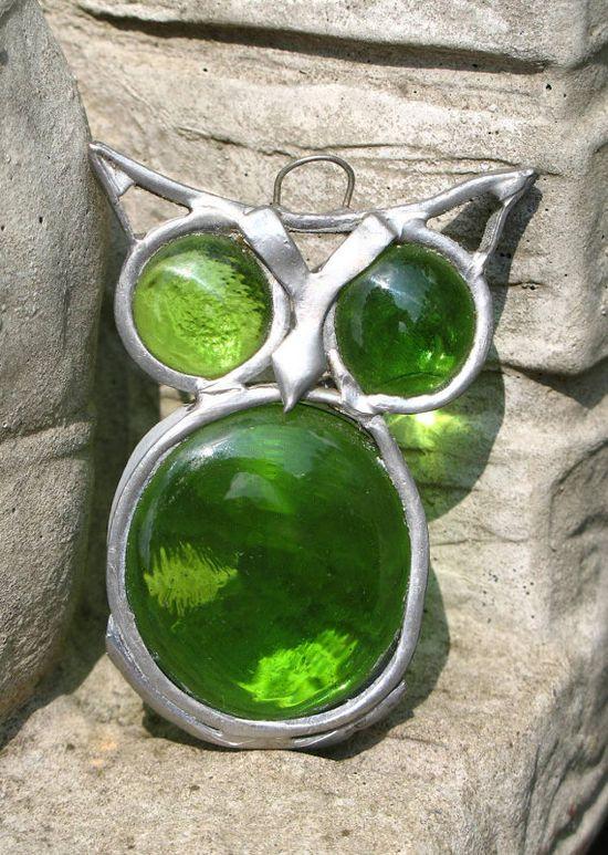 Vintage Green Owl Pendant. Etsy #pendant #owl #jewelry #etsy #vintage #70s