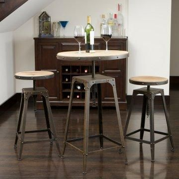 Rustic industrial pub set.