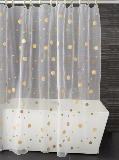 gold dot shower curtain