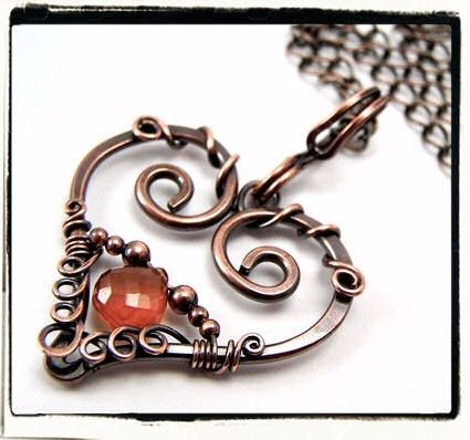 Carnelian Teardrop Filigree Heart Pendant With Chain