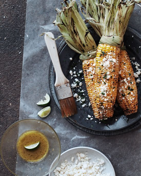 grilled corn with feta and lime vinaigrette