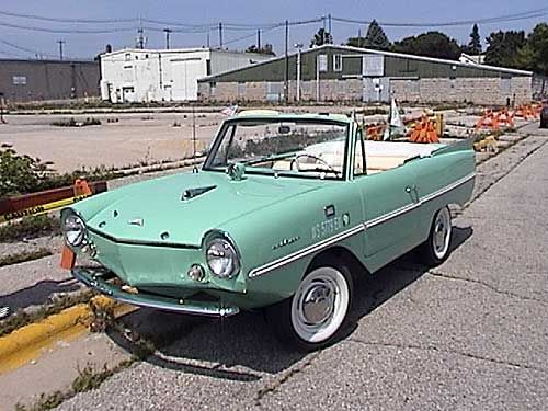 """Amphicar. As the name suggests, it's an amphibious car. To paraphrase Car & Driver, it was """"too much of a boat to be a car and too much of a car to be a boat."""""""