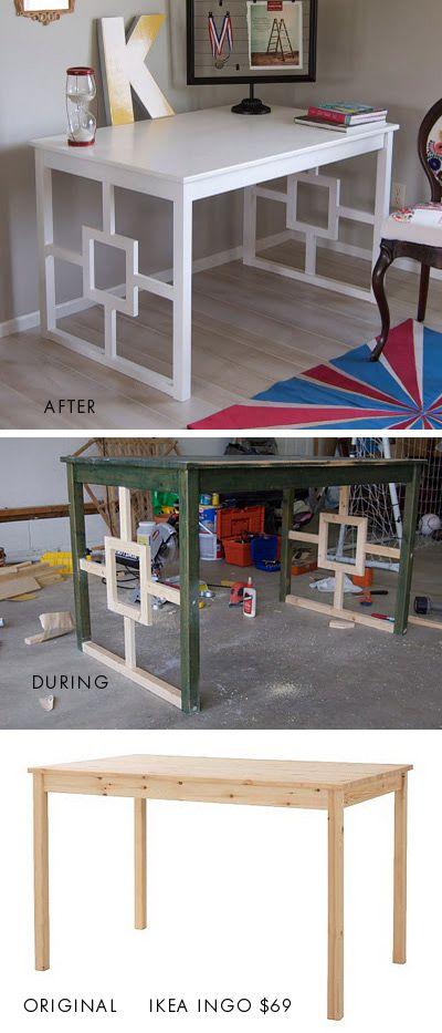 IKEA ingo dining table to desk makeover found here: matsutakeblog.blo...