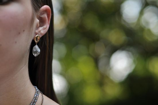 Pebble Herkimer Diamond earring