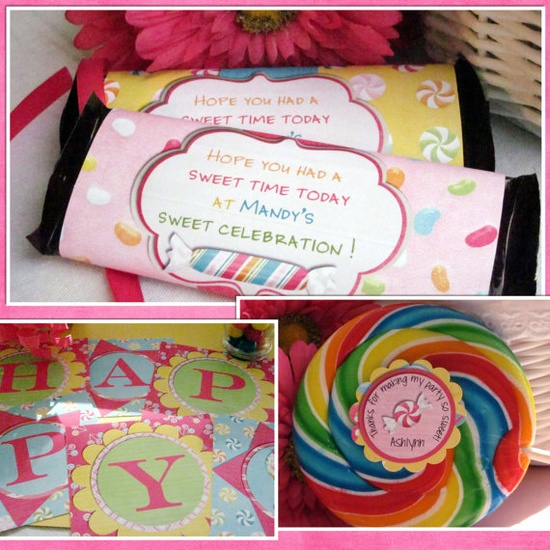 Sweet Shoppe Candy Birthday Party Welcome Sign Custom You Print. $9.00, via Etsy.