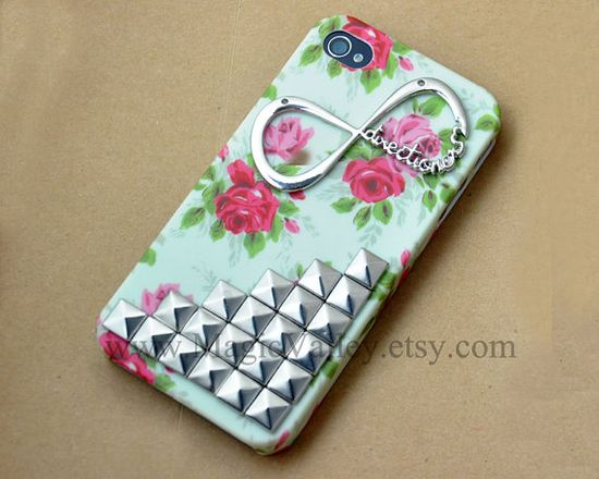 flowered Iphone 4s Case, Iphone 4 case, Infinity Iphone Case with Silver Pyramid Silver Studs, Studded Iphone 4 4S Case. $17.99, via Etsy.