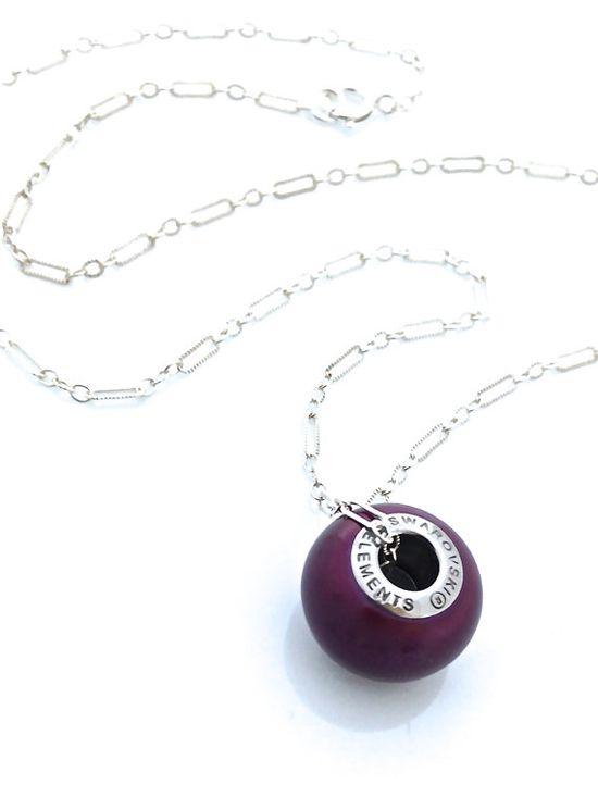 Beautiful pearl charm in the new Swarovski color called Blackberry #swarovski #vegan #charm #necklace by #UrbanClink, $27.00