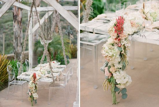 Shipwrecked Winter Beach Wedding: what a cool table setting.