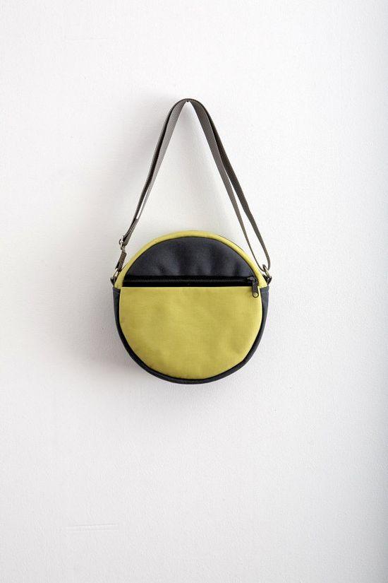 Round Bag Purse Grey Neon Green Bag Purse Hipster Bag by Marewo, $69.00