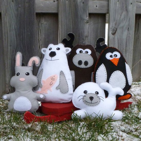 5 Arctic Stuffed Animal Hand Sewing PATTERNS  by LittleHibouShoppe, $15.00